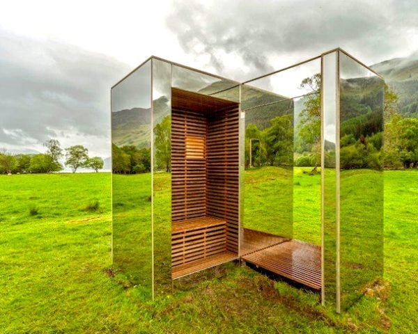 the lookout, angus ritchie, daniel tyler, mirrored cabin, mirror architecture, mirrored stainless steel, frame hardwood, plywood, birch ply, architecture thesis, strathclyde university, scotland, loch lomond and trossachs national park
