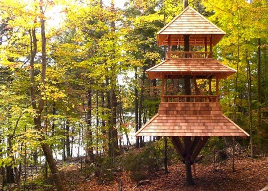 Adirondack Mountains, Japanese influences, Japanese pagoda, long lake, Luderowski architect, new Adirondack style, nils luderowski, pagoda, pagoda treehouse, pyramidal treehouse, reinhold treehouse, treehouse, upstate New York