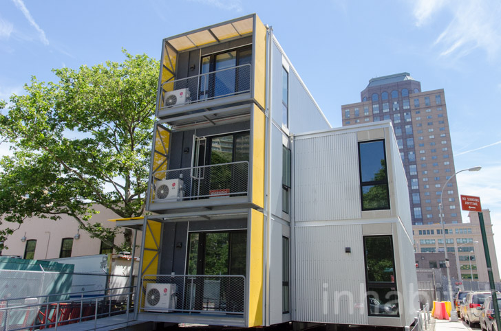 photo tour inside nyc s first prefab post disaster housing units. Black Bedroom Furniture Sets. Home Design Ideas