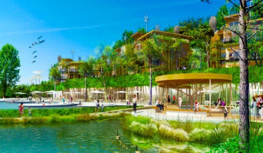 hot springs resort, france, green development, net zero carbon, zero waste, one planet community, carbon neutral, residential developments, sustainable principles