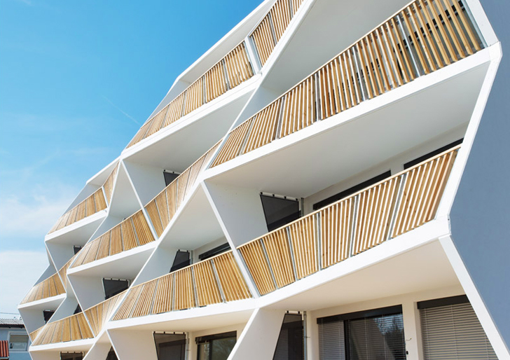 Affordable apartment block boasts sculptural zig zagging for Balcony concept