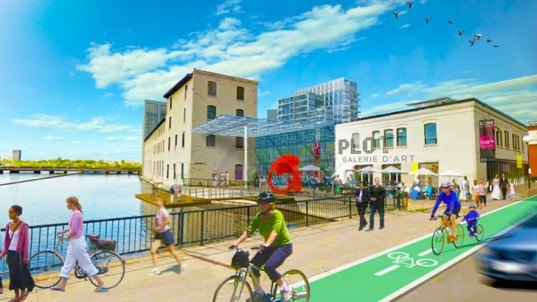 Ottawa eco-village, one planet community, urban eco-village, brownfields redevelopment, green stormwater management, urban agriculture, riverfront development, pedestrian streetscape