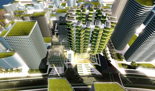 Aprilli Design Studio, hydroponic farm, living skycaper, vertical garden, vertical farm, urban farming, Urban SkyFarm, tree-like skyscraper, futuristic skyscraper, hydroponics, solar power, wind turbines, green energy, clean energy, sustainable food