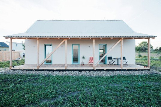 IST-Family House by JRKVC, Slovakian Architecture, gánok sheltered porch, simple design principles, central service box, local building materials, traditional folk architecture, countryside houses