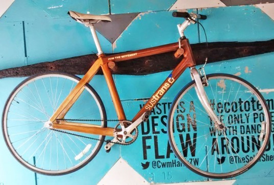 Rowan Tindale, sustrans bike, sustrans, bicycle, bike, reclaimed wood, wood bike, wooden bicycle, sustainable design, green design, green transportation, recycled bike
