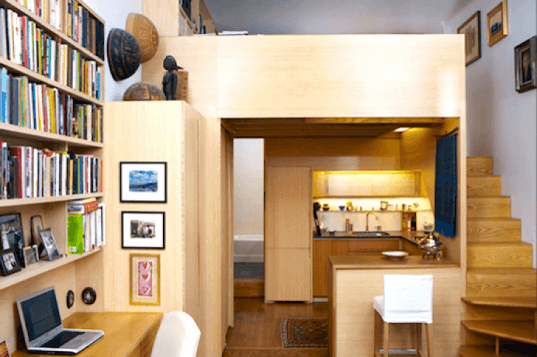 Micro loft apartment, micro loft, tiny studio, woodworking, tim seggerman, George nakashima, space saving, brownstone studio, upper west site, new york city apartment, tiny living, loft style apartment, papyrus panels