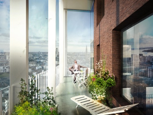 C.F. Møller Architects, C.F. Møller Architects Antwerp, Antwerp architecture, Antwerp towers, Belgium architecture, tower design, vertical communities, tower rooftop garden, glass facades, tower facades, highrise architecture