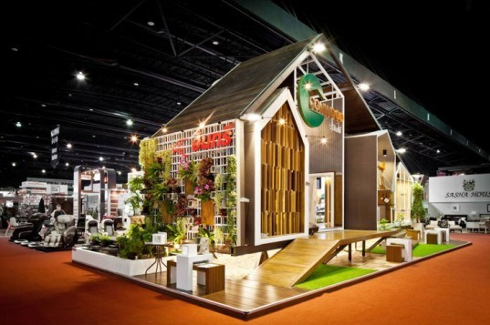 Apostrophy's pavilion, Apostrophy's Conwood, Conwood material, Conwood wood replacement, eco-friendly wood material, eco-friendly wood replacement product, sustainable building materials, pavilion architecture, Architect Expo 2014 Bangkok