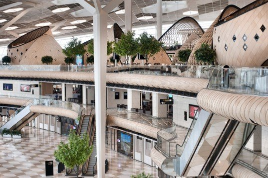 Autoban, wooden pods, Baku airport, Azerbaijan, Turkish design, Heydar Aliyev International Airport, Arup, human scale, futuristic airport