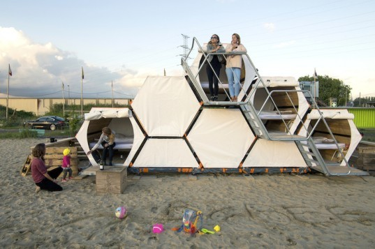 Achilles Design, Labeur, Compaan, One Small Step, Belgium, honeycomb shelter, B-and-Bee, belgium festivals, festival shelter, housing for festivals, stackable bee houses, reader submitted content, green design, sustainable design, eco-design
