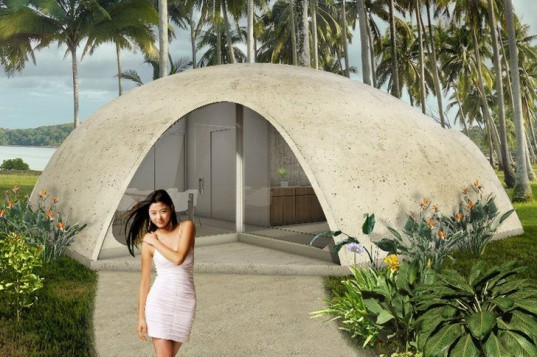Nicoló Bini domed homes, Nicoló Bini Binishells, Binishells domes, dome architecture, concrete domes, tiny homes, tiny concrete homes, dome structures, affordable housing, papier-mâché homes, green building technique, earthquake-resistant homes, green architecture, low-cost houses