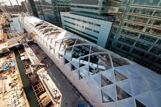 Foster & Partners, Crossrail Station, London, Canary Wharf, train station, latticed structure, ETFE plastic