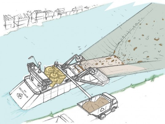 river waste, ocean pollution, james dyson, cyclone technology, river barge, waste barge, recycled materials, James Dyson interview, sponsored post, green design, sustainable design, green tech, clean tech, pollution, Recyclone Barge, James Dyson Recyclone,