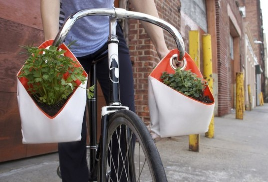 recycled sails, sail cloth, recycled materials, reader submitted content, the garden department, nomad, portable herb planters, green design, urban design, sustainable design, urban gardening, city gardening, portable planters