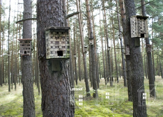 Zupagrafika, Poland, Polish, prefab, prefabricated, apartment, apartments, prefab apartments, bird, birds, birdhouse, birdhouses, bird houses, apartments for birds, modernism, modernist, modern, modernist birdhouse, letraset, stencils, buildings for birds