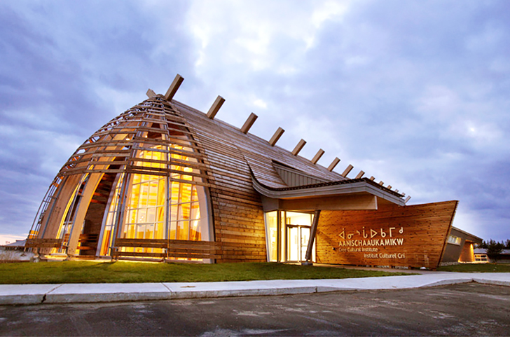 Gorgeous Timber Cultural Institute Modeled After Cree Longhouses In Quebec