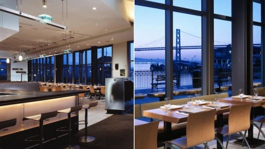 charles phan, lundberg design, olle lundberg, restaurant design, restaurant interior design, salvaged cypress, stacked glass wall, glass bar backsplash, james beard award, ferry building, san francisco, the slanted door, slanted door restaurant design,