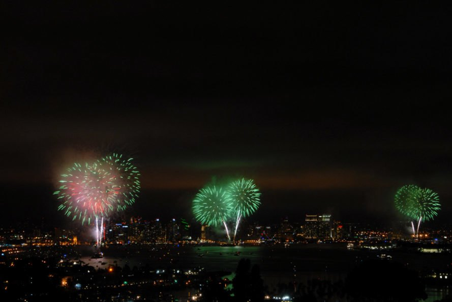 Green-colored fireworks exploding over a city skyline