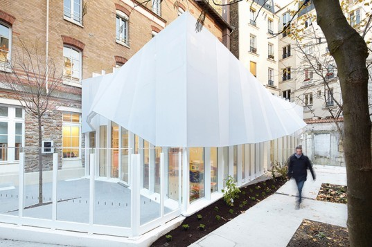 green design, eco design, sustainable design, paris nursery, h2o architects, epee de bois, fabric canopy extension, glass box