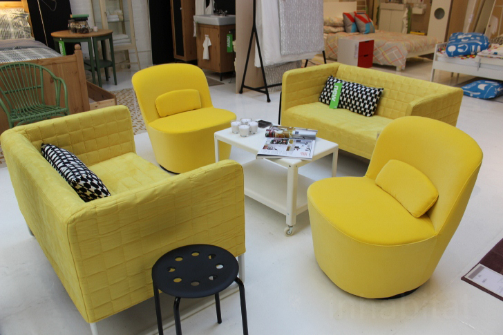 Yellow sectional sofa with removable cover