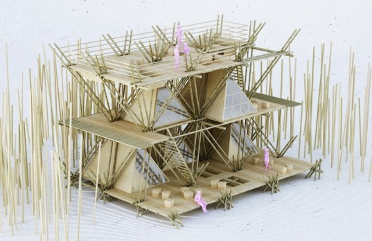 bamboo, penda, penda design, one with the birds, one with the birds penda, x-shaped bamboo joists, aim legend of tent competition, aim legend of tent, teepees, temporary hotel, hotel, flexible hotel, hotel competition, sustainable building