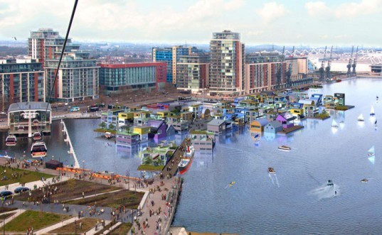 royal docks london, floating village london, drmm architects, carillion igloo genesis, buro happold, floating homes uk, floating homes london, prefab construction