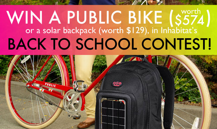 LAST CHANCE: Win a PUBLIC Bike (Worth $574) or a Solar Power Backpack in Inhabitat's Back to School Contest!