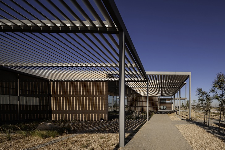 Displaying ad for 5 seconds & Rammed Earth Walls and Louvered Canopies Protect Craigieburn ...