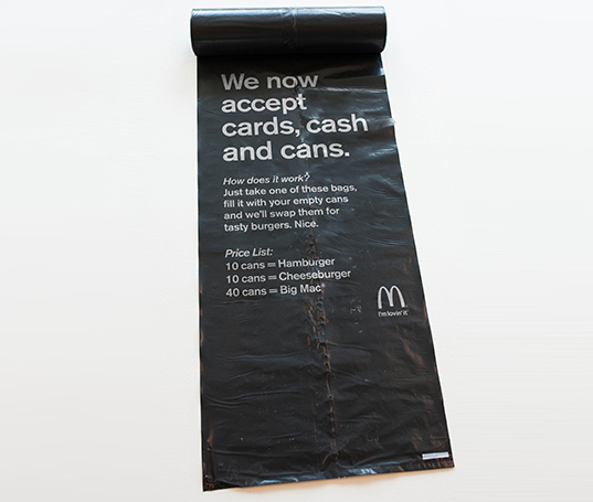 green design, eco design, sustainable design, DDB, McDonald's Stockholm, Mcdonald's can exchange, recycling cans