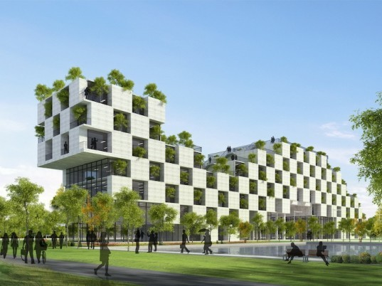 sustainable building, Vo Trong Nghia Architects, FPT university building, administrative building of FPT university, checkerboard facade, green roofs, green facade, tree-filled balconies, alternatives to air conditioning, prefab architecture, prefab, modular architecture, modular concrete blocks, vietnam, vietnamese architecture,