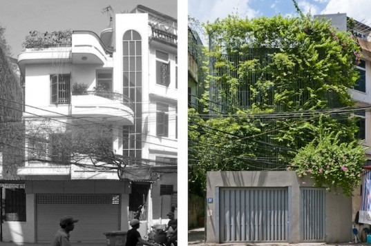 Vo Trong Nghia Architects, hanoi, green renovation, green facade, green wall, climbing plants, vietnam, urban heat island effect, sustainable architecture, roof garden, natural light, daylight, ventilation, galvanized steel trellis, Vo Trong Nghia