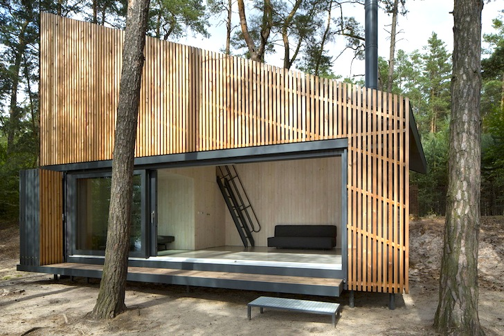 tiny prefab cabin 39 s slatted timber facade folds open to beautiful lakeside views in northern. Black Bedroom Furniture Sets. Home Design Ideas