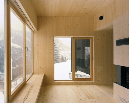 Lacroix | Chessex Architectes, Maison aux Jeurs, Les Jeurs, timber cabin, untreated timber, untreated fir, all timber cabin, all timber architecture, dark timber, alpine retreat, alpine architecture, switzerland, swiss cabin, wood-lined interior
