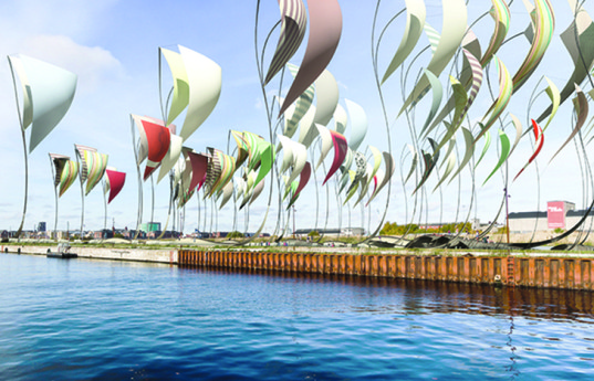 Felix Cheong, oscillating platforms, land art generator initiative, 2014 land art generator initiative competition, 2014 LAGI competition, renewable energy, harness wind energy, wave energy, tidal energy, Copenhagen, art installation, pressurized air chamber, oscillating water column, wind turbine