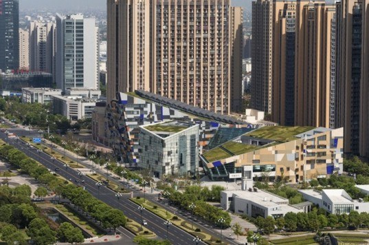studio505, phoenix valley, green roof, vertical walls, pv system, solar thermal arrays, natural ventilation, LED lighting, stormwater management, chinese opera, cultural center, wujin, changzhou, china architecture, chinese architecture, china 3 star rating