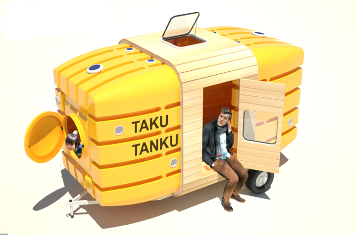Tiny Taku Tanku Mobile Shelter is Carved Out of Recycled Rainwater Tanks