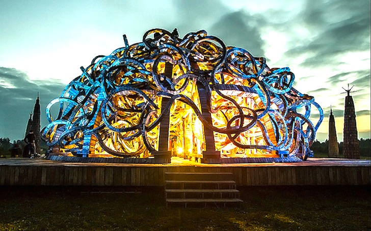 Brain shaped sculpture erupts into a spectacular light for Psychology of light in architecture