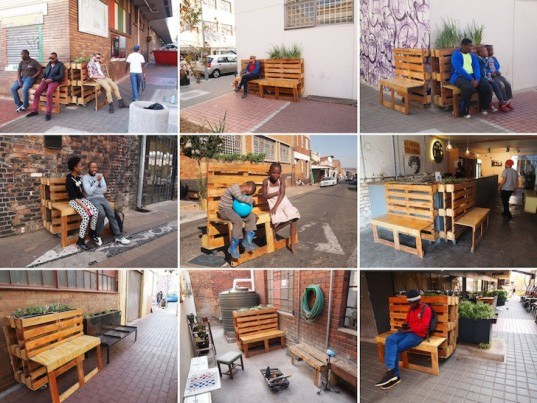 Street Artist r1 Recycles Reclaimed Wood Pallets Into Mobile Pop-Up Benches in Johannesburg