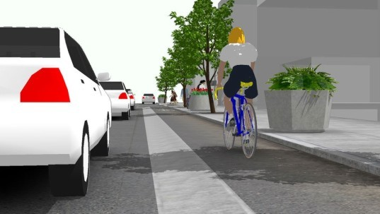 raised, bikeway, san francisco, mission, gateway, valencia, project, green, infrastructure, cycling, bicycle,