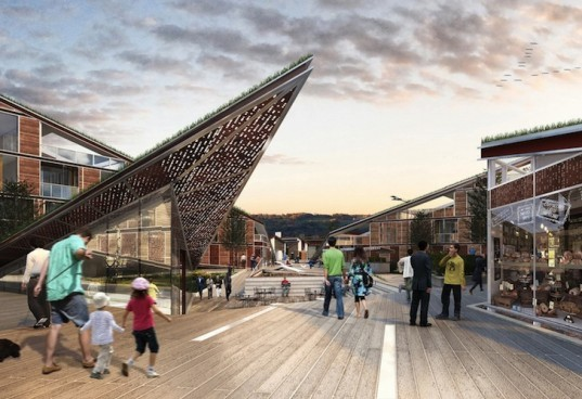 Mixed Use Butterfly Square Absorbs Solar Energy Through