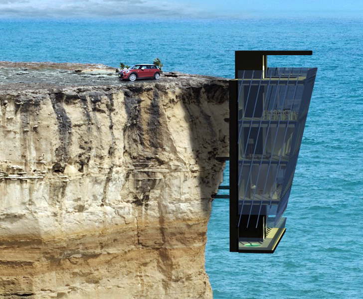 Modular cliff house hangs perilously over a cliff 39 s edge for Piscine falaise