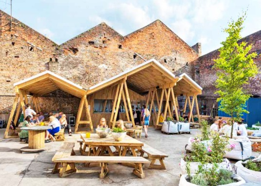 Constellation Bar, Liverpool architecture, wooden canopy, canopy, triangular structure, timber architecture, rainwater, Hugh Miller, wood furniture