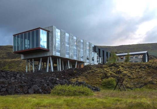 minarc architects, mnmMOD, prefab, geothermal energy, iceland, mount Hengill, floor to ceiling windows, natural daylight, ion hotel, northern lights, icelandic landscape, reclaimed wood, lava, icelandic art, sustainable architecture