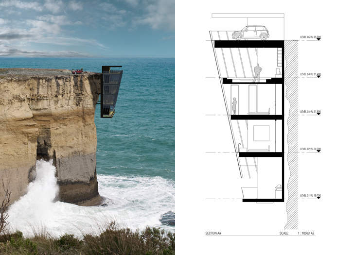 Modular cliff house hangs perilously over a cliff 39 s edge for Cliff hanging homes