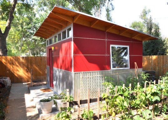 Studio Shed, Jeremy Horgan-Kobelski, Heather Irmiger, prefab shed, prefab design, Boulder, Colorado, Olympic mountain bikers, cycling couple, cycling, green design, sustainable design, eco-design, FSC-certified lumber, solar shed, green shed, backyard shed, stylish shed, prefab shed design,
