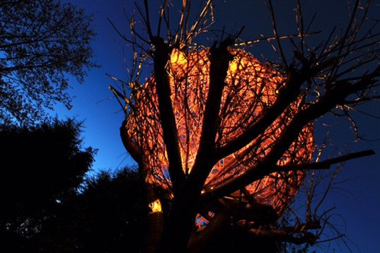 Tom Hare, willow treehouse, Cherry Tree House, human nest, spherical Tree House, biodegradable design