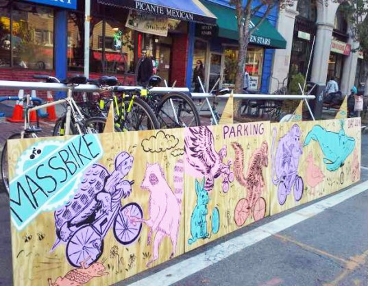 parking day, Park(ing) Day, parking day 2014, Park(ing) Day 2014, urban space, pop-up park, parks, park, sustainable design, green design, green events, green architecture, landscape architecture, eco art, green art, rebar, urban design, green space, parking spot, parking lot, parklet, Massachusetts Bicycle Coalition, Erica Tyeklár Wells, Zoárd Wells Tyeklár, massbike