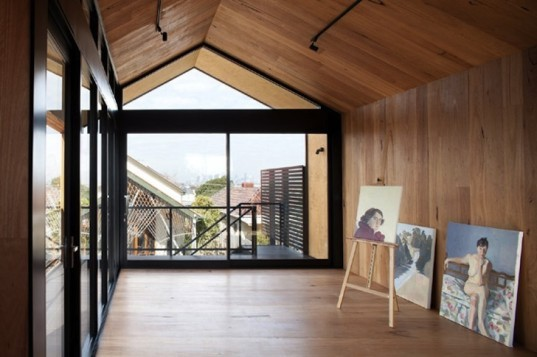 Chan Architecture, timber, blackbutt, plywood, rain chain, artist's studio, wooden artist's studio, australia, australian architecture, thorbury, natural light, organic landscape, natural pool, chlorine-free pool, pitched roof, Phillip Johnson Landscaping