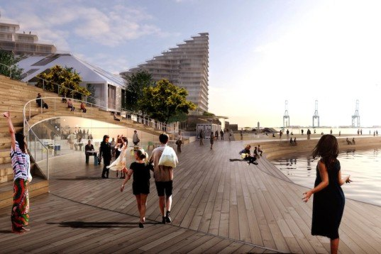 BIG, Aarhus, BSN7, mixed-use, basin 7, public realm, placemaking, urban design, waterfront, Denmark, courtyard, microclimates, harborfront, promenade, public promenade, public space