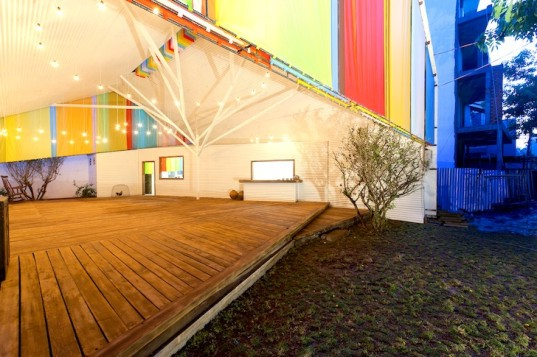 a21 studio, a21studio, chapel, world architecture festival, 2014 world architecture festival, building of the year, 2014 building of the year, community space, colored fabric, metal sheets, tree-shaped column, steel frame, recycled materials, low budget, paul finch